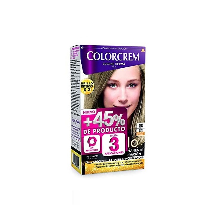 COLORCREM COLOR & BRILLO TINTE CAPILAR +45% DE PRODUCTO 80 RUBIO CLARO