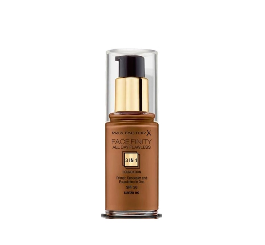 MAX FACTOR FACEFINITY ALL DAY FLAWLESS 3 IN 1 FOUNDATION 100 SUNTAN