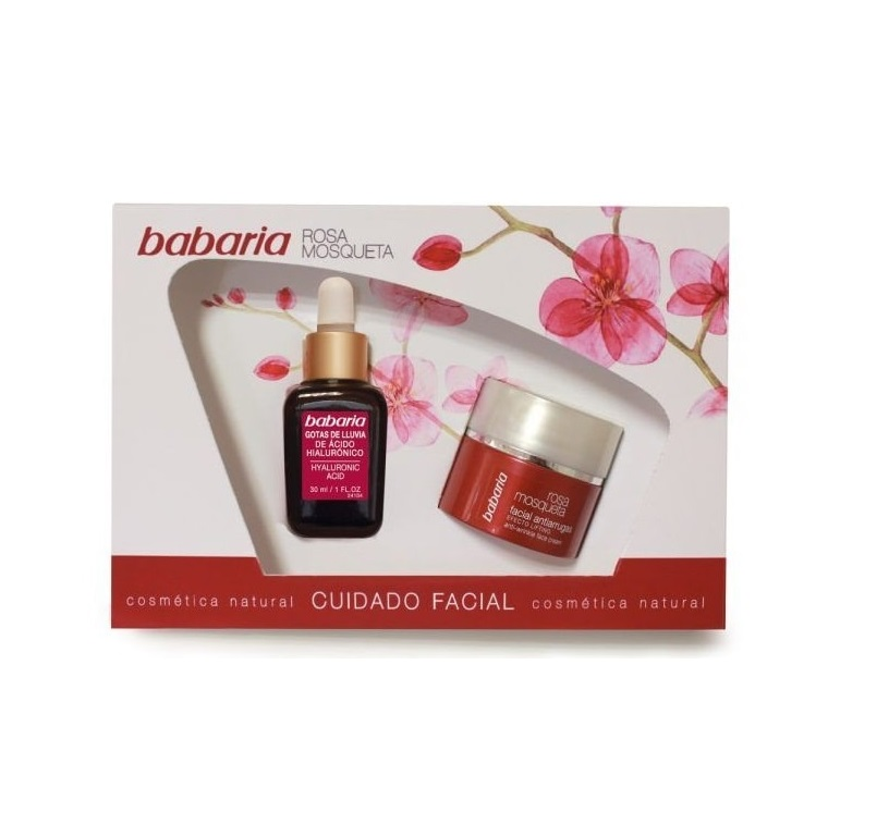 BABARIA ROSA MOSQUETA CREMA ANTIARRUGAS 50ML + GOTAS ACIDO HIALURONICO 30ML SET REGALO