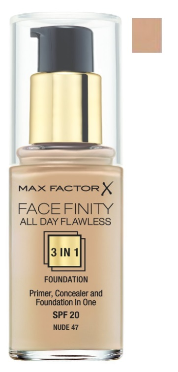 MAX FACTOR MAQUILLAJE FACE FINITY 3 IN 1 FDN 47 NUDE SPF 20 30 ML
