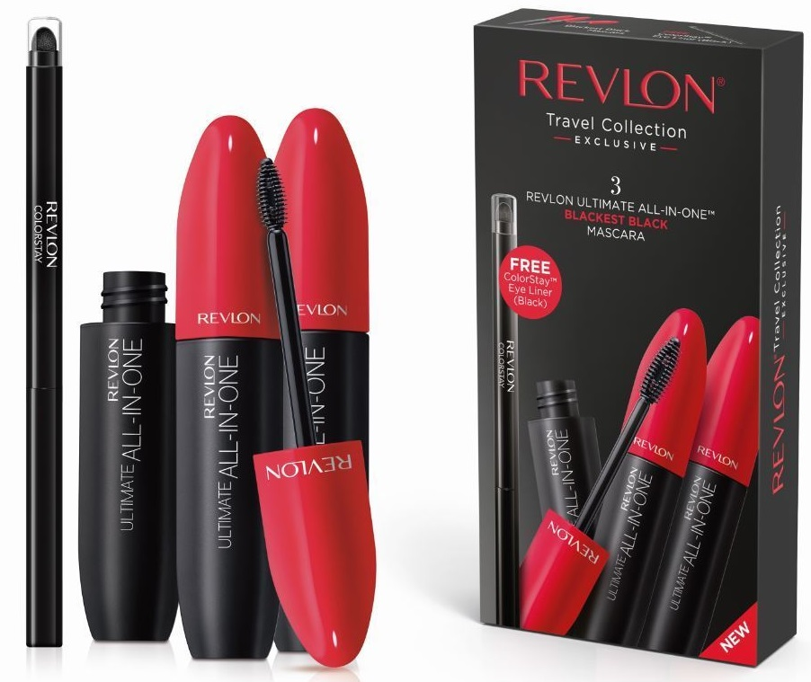 REVLON ULTIMATE ALL IN ONE KIT VIAJE 3 MASCARAS CON DELINEADOR DE OJOS NEGRO