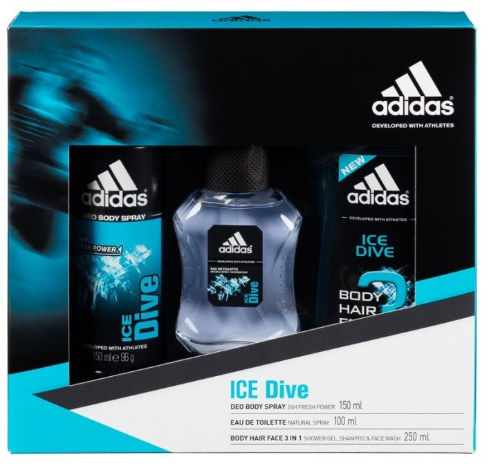 ADIDAS ICE DIVE EDT 100 ML + BODY HAIR FACE 3IN1 250 ML + DEO SPRAY 150 ML
