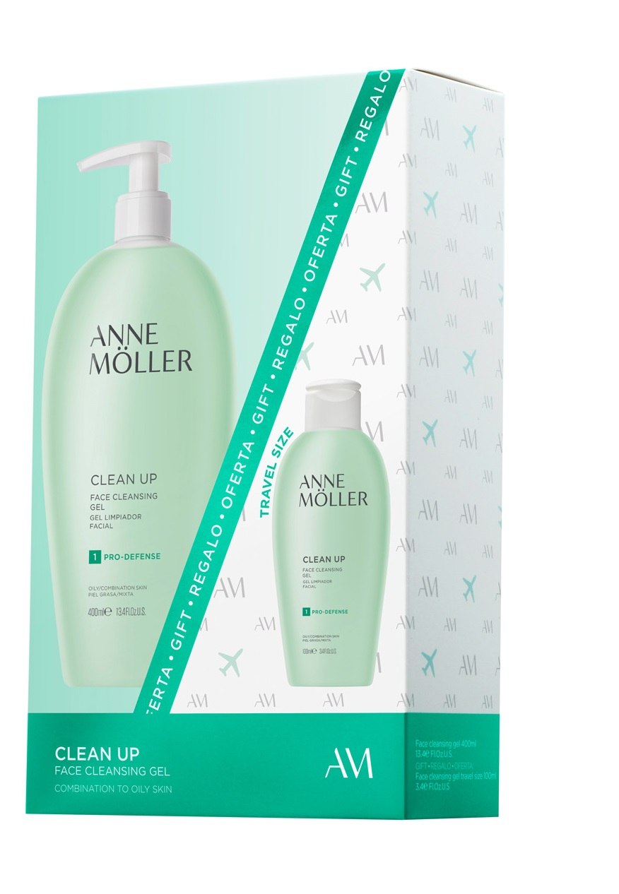 ANNE MOLLER CLEAN UP GEL LIMPIADOR FACIAL 400 ML + GEL LIMPIADOR FACIAL 100 ML SET REGALO