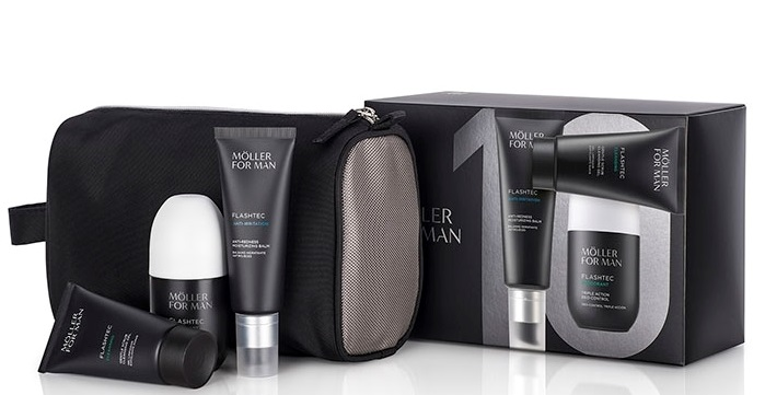 ANNE MOLLER FOR MAN FLASHTEC CREMA ANTIEDAD 50 ML + EXFOLIANTE + DEO+ NECESER SET