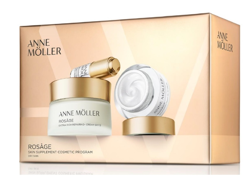 ANNE MOLLER ROSAGE CREME RICA REPARADORA 50 ML + CR.NOCHE 15 ML + AC. HIALURONICO 5 ML SET REGALO