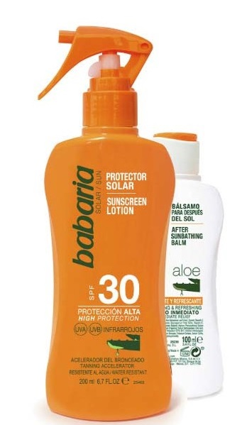 BABARIA LOCION SOLAR ALOE VERA  SPF30 200ML + AFTER SUN ALOE VERA 100ML