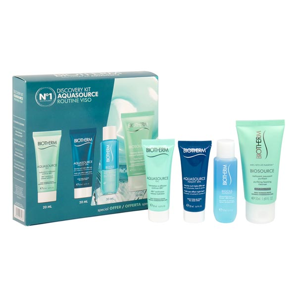 BIOTHERM AQUASOURCE GEL 20 ML + NIGHT CARE 20 ML + BIOCILS 30 ML + ESPUMA LIMPIADORA 50 ML SET