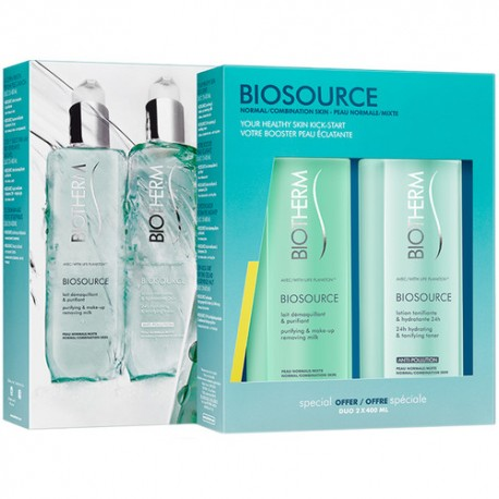 BIOTHERM BIOSOURCE LECHE DESMAQUILLANTE P. NORMALES  400 ML + TONICO 400 ML SET REGALO