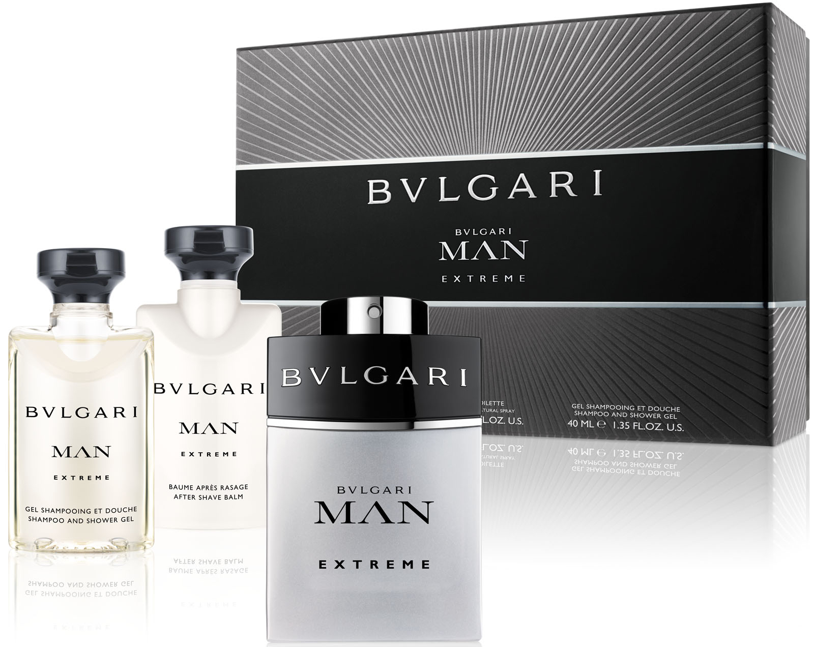 BVLGARI MAN EXTREME EDT 60 ML + GEL 40 ML + A/S 40 ML SET REGALO