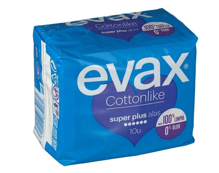 Evax Cottonlike Super Plus Compresas con Alas 10 unidades