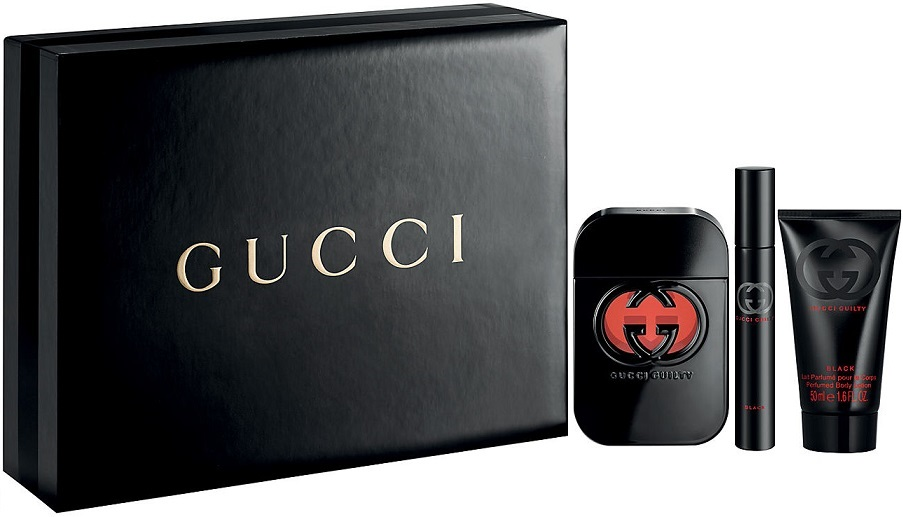 GUCCI GUILTY BLACK WOMAN EDT 75 ML + B/L 50 ML + MINI SET REGALO