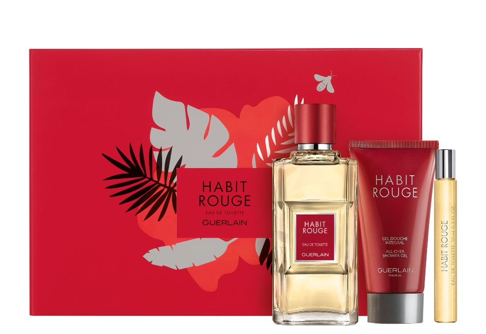GUERLAIN HABIT ROUGE EDT 100 ML+MINI 10ML+GEL 75ML SET REGALO