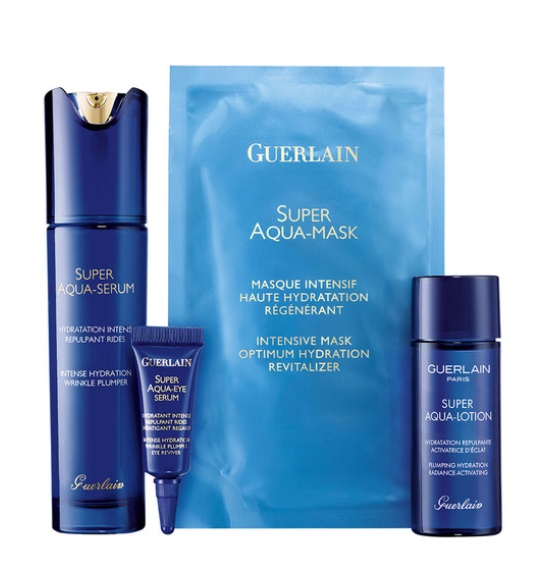GUERLAIN SUPER AQUA SERUM 50ML+MASCARILLA INTENSIVA + LOCION 40ML+ SERUM OJOS 5ML SET REGALO