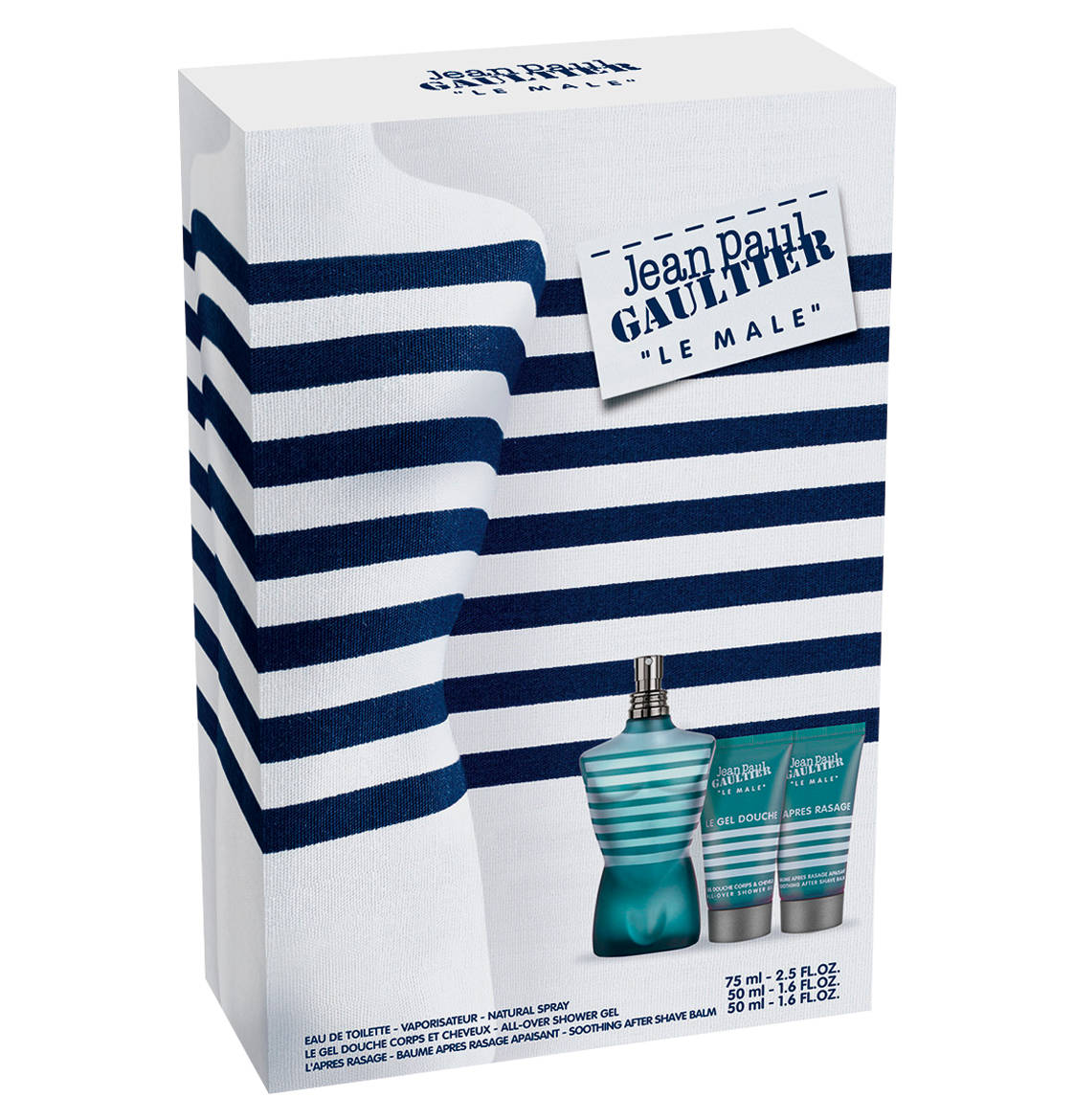 JEAN PAUL GAULTIER JPG LE MALE EDT 75 ML + GEL 50 ML + A/S BALM 50 ML SET REGALO