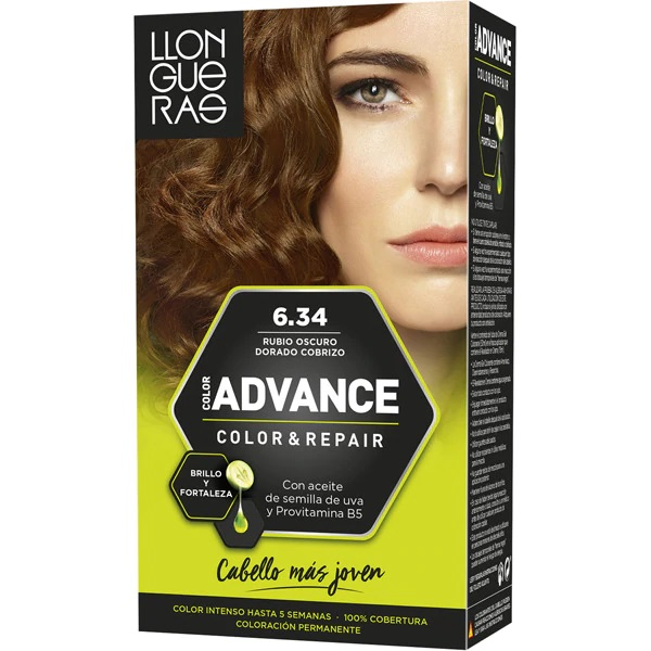 LLONGUERAS COLOR ADVANCE TINTE 6.34 RUBIO OSCURO DORADO COBRIZO