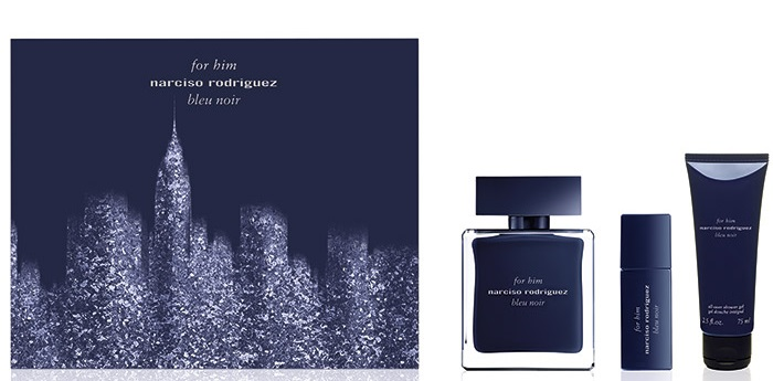 NARCISO RODRIGUEZ BLEU NOIR HIM EDT 100 ML + EDT 10 ML + S/G 75 ML SET REGALO