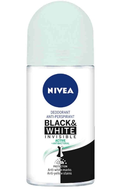 NIVEA DESODORANTE BLACK AND WHITE INVISIBLE ACTIVE ROLL ON 50 ML