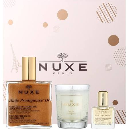 NUXE HUILE PRODIGIEUSE OR 100 ML + MINI 10 ML + VELA AROMATICA SET REGALO