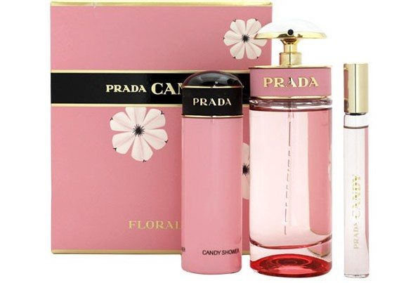 PRADA CANDY FLORALE EDT 80 ML + GEL 75 ML + MINI EDT ROLL ON 10 ML TRAVEL SET