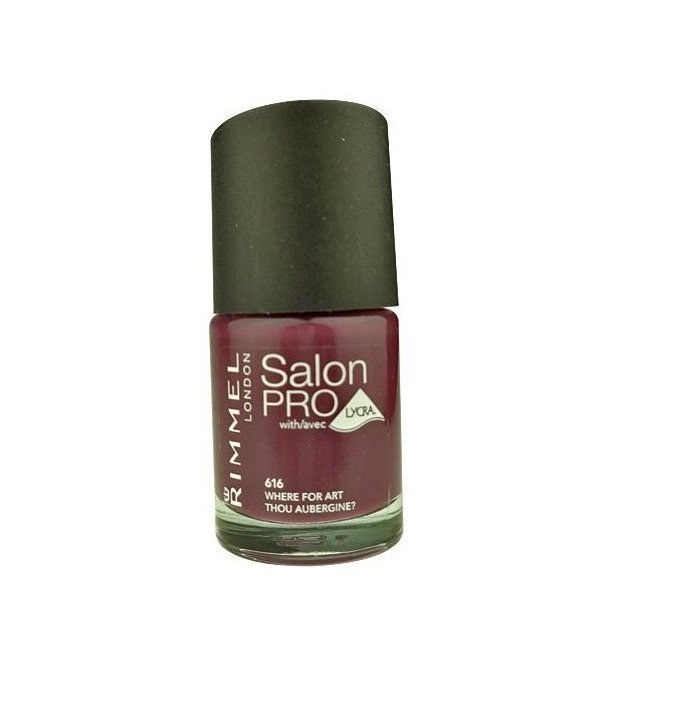 RIMMEL LONDON NAIL POLISH SALON PRO WHERE FOR ART THOU AUBERGINE 616 12ML