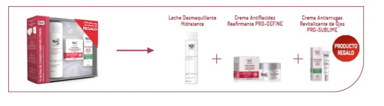 ROC PACK PRO-DEFINE (CREMA ANTIFLACIDEZ 50 ML +  CR. ANTIAR. OJOS 15 ML + LECH. LIMP 200 ML) SET