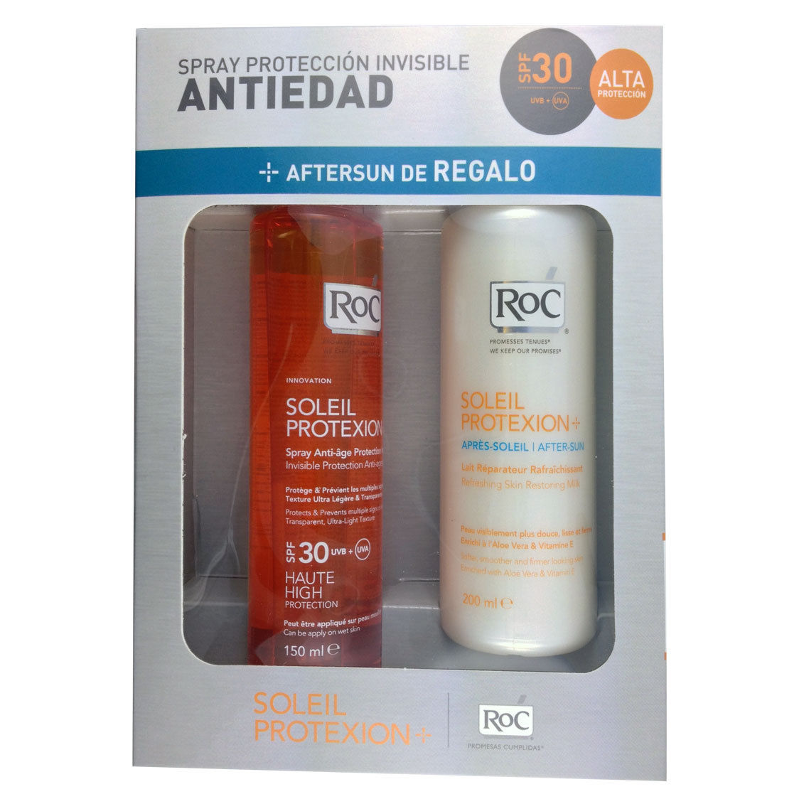 ROC SOLEIL PROTEXION + SPRAY PROTECCION INVISIBLE ANTIEDAD 150 ML + AFTERSUN LECHE REPARADORA 200 ML