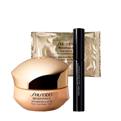 SHISEIDO BENEFIANCE WRINKLE RESIST 24 INTENSIVE EYE + MINI MASCARA+ PARCHES OJOS SET