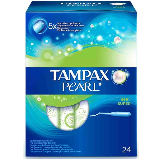 TAMPAX COMPAK PEARL  TAMPON SUPER 24 UNIDADES