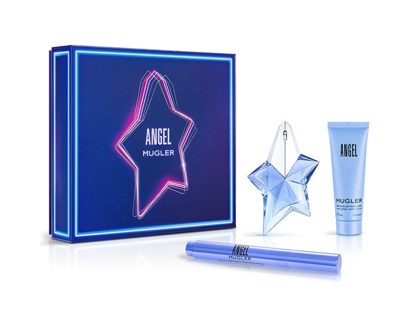 THIERRY MUGLER ANGEL EDP 25 ML RECARGABLE + PINCEL PERFUMADO 7 ML + B/L 50 ML SET REGALO