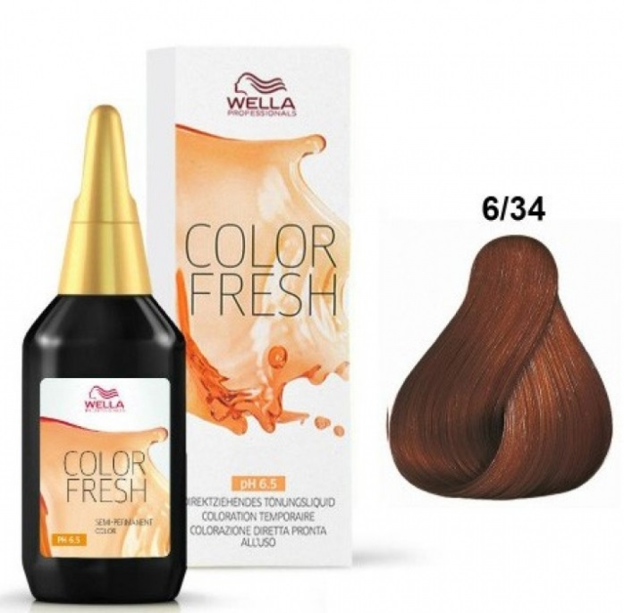 WELLA PROFESSIONAL COLOR FRESH COLORACION SEMIPERMANENTE 6/34  RUBIO OSCURO DORADO COBRIZO 75ML