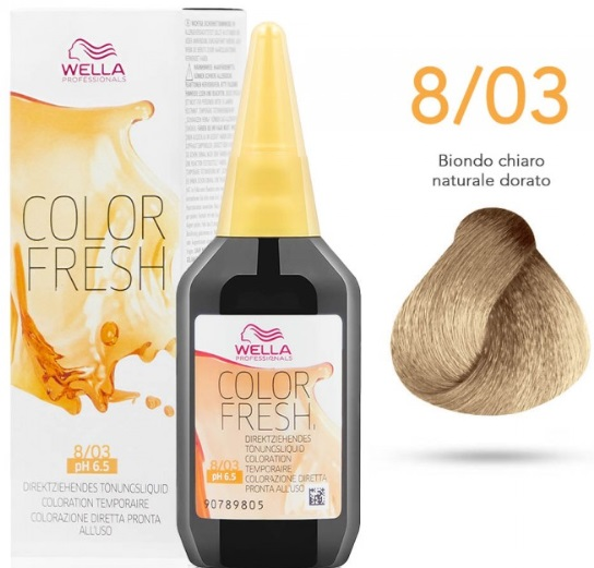 WELLA PROFESSIONAL COLOR FRESH COLORACION SEMIPERMANENTE 8/03 RUBIO CLARO NATURAL DORADO 75ML