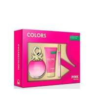 BENETTON COLORS PINK EDT 50 ML + BODY MILK 75 ML + MINI EDT 15 ML SET REGALO