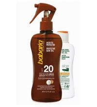 BABARIA ACEITE PROTECTOR SOLAR COCO SPF20 200ML + AFTER SUN ALOE 100ML
