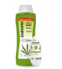 BABARIA GEL BAÑO CANNABIS 1000Ml + DESODORANTE ROLL-ON CANNABIS 70ML
