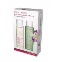 CLARINS LECHE DESMAQUILLANTE 200 ML + LOTION TONIQUE S/ALCOHOL 200 ML P. MIXTA - GRASA SET REGALO