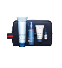 CLARINS MEN BALSAMO SUPER HIDRATANTE 50ML + LIMPIADOR EXFOLIANTE 125 ML + SHAMPOO 30 ML + ACEITE AFEITADO 5 ML SET REGALO