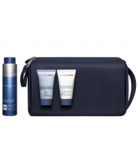 CLARINS MEN GEL REVITALIZANTE 50 ML + EXF. ROSTRO + CHAMPU + NECESER SET REGALO