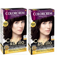 COLORCREM COLOR & BRILLO TINTE CAPILAR 40 CASTAÑO  x 2 UDS