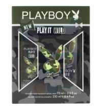 PLAYBOY IT WILD MEN BODY FRAGANCE SPRAY 75 ML+ DEO SPRAY  150 ML + SHOWER GEL 250 ML SET
