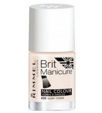 RIMMEL LONDON BRIT MANICURE NAIL TIP COLOUR IVORY TOWER 433 12ML