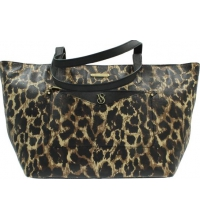 VICTORIA'S SECRET LEATHER EW TOTE LEOPARD BOLSO