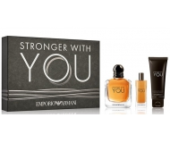 ARMANI STRONGER WITH YOU EDT 100 ML + EDT 15 ML + GEL 75 ML SET REGALO